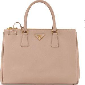 ca8b01fa71c7 Prada Lux Double Zip Saffiano Cammeo Leather Bag